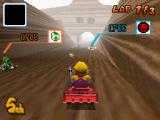 Hier zie je Choco Mountain, één van de 32 banen in Mario Kart DS.