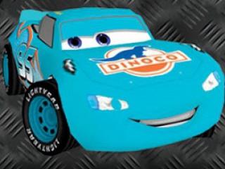 Race met personages uit de film en pas ze aan zoals deze blauwe Bliksem McQueen.