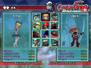Dit zijn alle speelbare karakters in Crazy Frog Racer.