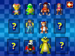 Race met 8 verschillende personages, zoals Diddy en Dixie! 4 personages kun je nog vrijspelen!