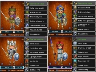 De equipment layout van je personages in de game.