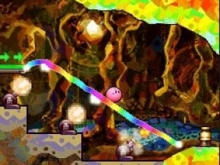 In dit spel bestuur je Kirby door op het touchscreen lijnen te tekenen waarover hij heen rolt.