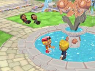 Altijd cool zulke gesprekjes in een fontein.