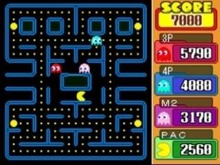 Speel maximaal met z'n vieren een spannend potje Pac-Man.