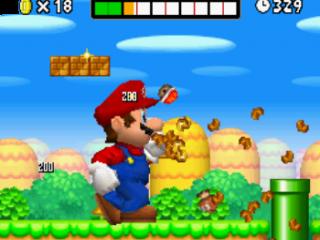Met de megapaddestoel kan Mario alles wat op zijn pad komt tot moes slaan.