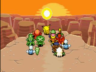 Alle speelbare Pokémons naast elkaar kijkend naar de zonsondergang.