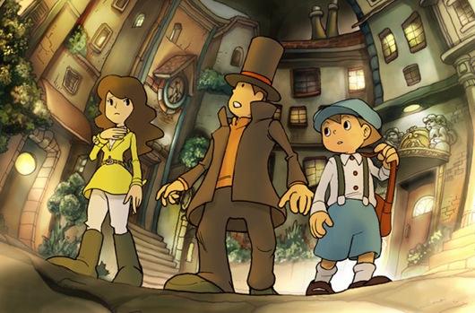 Hier zie je: Emmy, de assistente van Layton, Professor Layton zelf en zijn hulpje Luke.