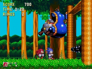 Versla dr. Eggman met behulp van Sonic the Hedgehog en Knuckles the Echidna.