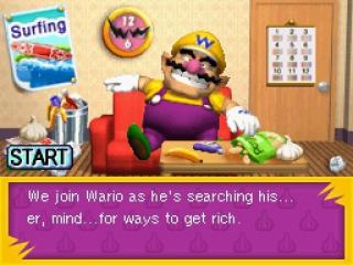 Wario ligt lui naar de televisie te kijken, zich nog niet bewust van de vele avonturen die volgen...
