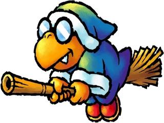 Kamek, een irritante vijand die baby Mario wil kidnappen.