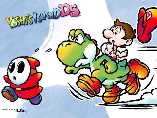 Je speelt als Yoshi en moet baby Mario veilig door de levels heen dragen.